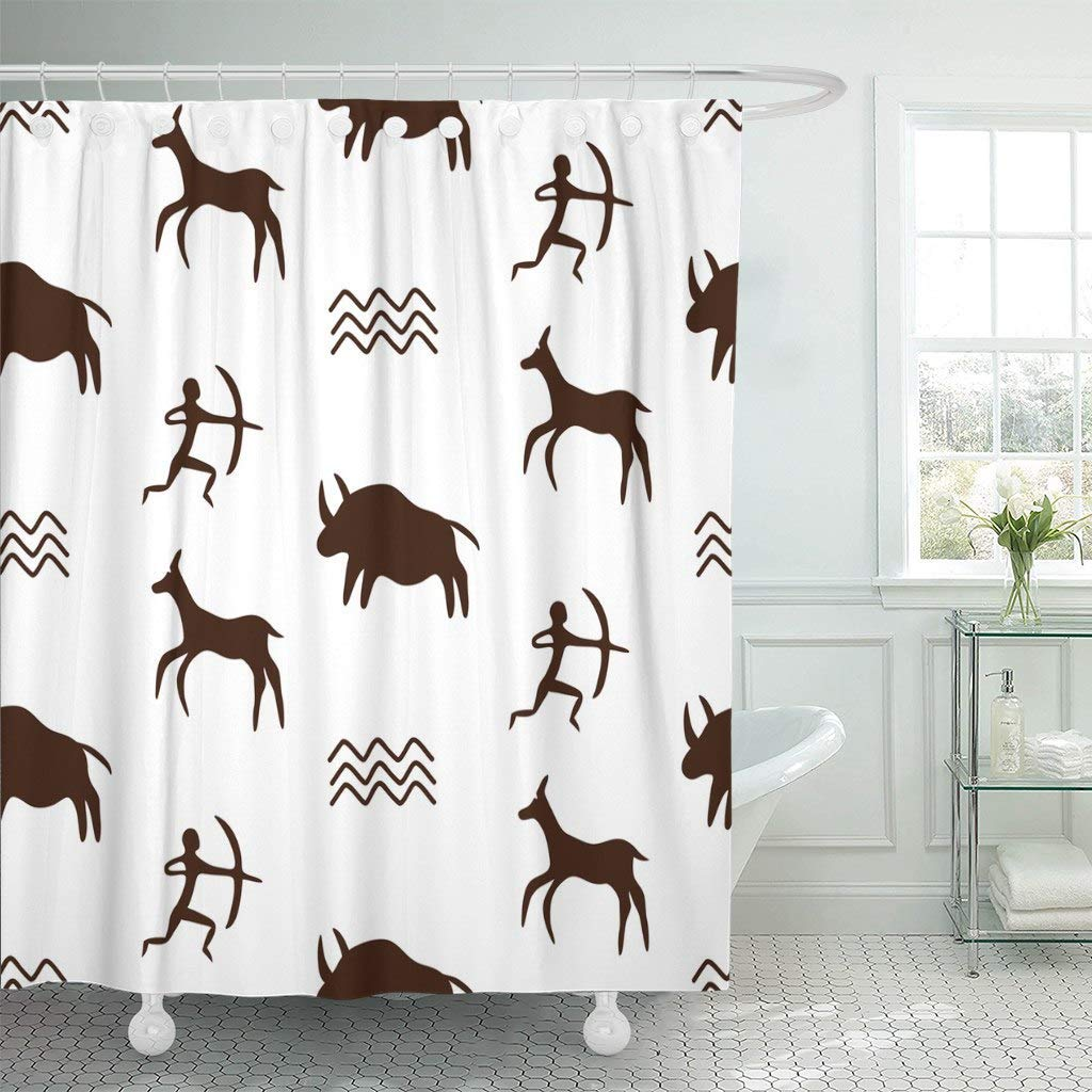 Shower Curtains Bathroom Curtain Primitive With Cave Drawings Black Silhouettes Of Hunting Caveman And Wild Animals Age Bath