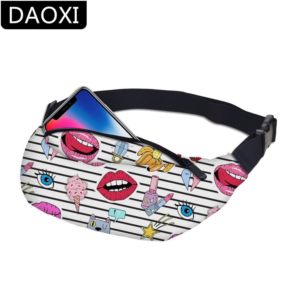 DAOXI Emoji Fanny Packs Girls Waist Bag For Men Money Belt Travelling Mobile Phone Bag DXYB-19