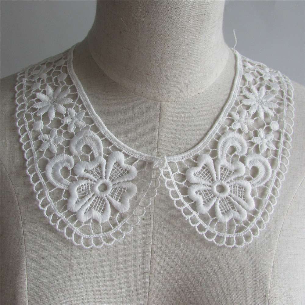White Embroidered Lace Collar Neckline Applique Embroidery