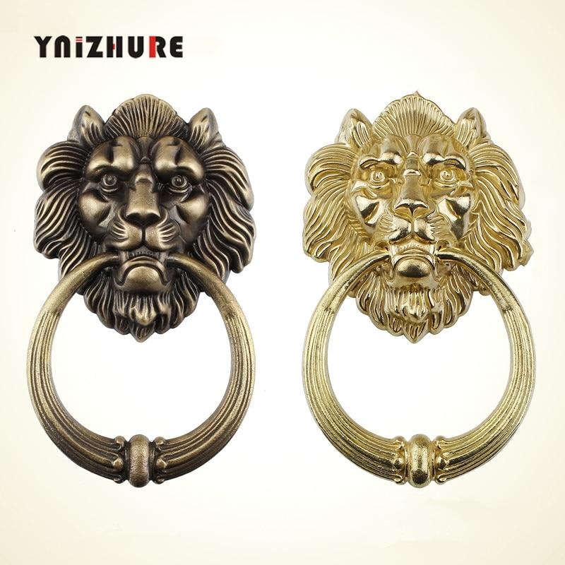 Tête de lion en Bronze chinois Antique heurtoir de porte tête de bête poignée en cuivre pur processus de traction anneau de construction