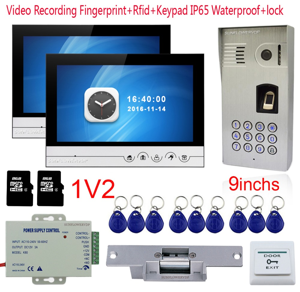 Free Shipping New 7 Color Door Monitor Video Intercom Home Door Phone Recorder System E-lock Waterproof Rain Cover 8g Sd