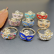1pcs Wholesale Lots Bulk Retail Vintage Women Female Flower Full Rhinestone Mask Design Adjustable Finger Ring rhinestone vintage flower ring