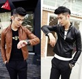 Short Slim Motorcycle Leather 2015 Spring Leather Coat Male New Design Stand Collar Faux Leather Jacket