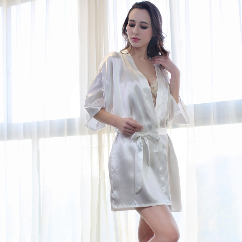 White Bride Bridesmaid Wedding Robe Solid Home Wear Rayon Sleepwear Sexy Kimono Bath Gown Waistband Nightdress Lady Gift S-XXL