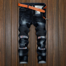 2017 men's fashion brand explosion models motorcycle pants Europe and the United States men's jeans elastic Slim feet
