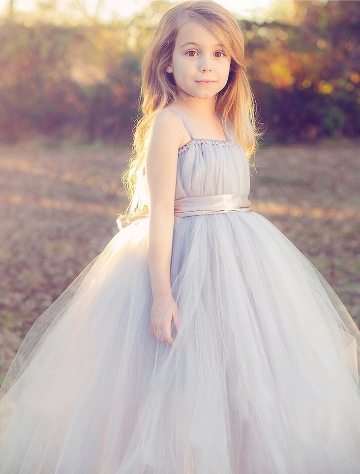 2018 tulle gray baby bridesmaid flower girl dress fluffy ball gown USA birthday evening prom cloth tutu party wedding dress NEW