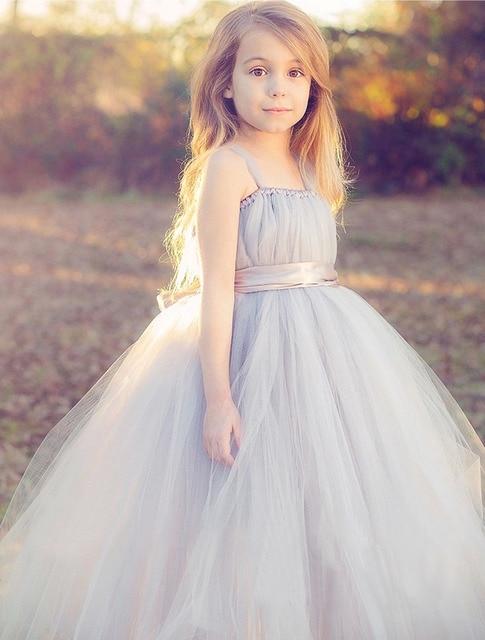 Novo 2017 tule cinza vestido da dama de honra do casamento da menina de flor do bebê vestido de baile fofo EUA pano tutu de baile à noite festa de aniversário vestido