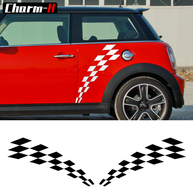 2 Pieces Checker Flag Door Side Stripes Decal Stickers For Mini