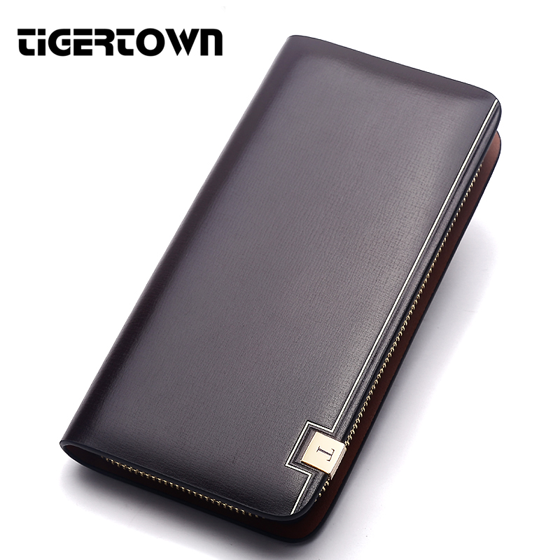 Men's Long Section Wallet Brand TIGERTOWN Fashion Cowhide Split Leather Wallet High Quality Handbag Phone Package bag For Men