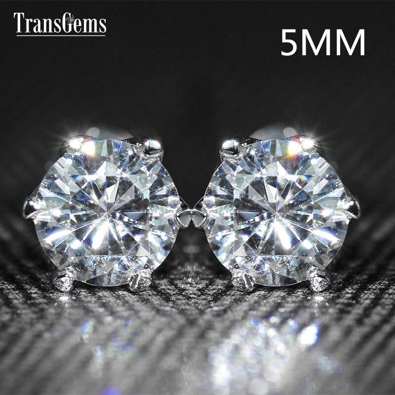 Transgems 14K 585 White Gold 1CTW 5mm F Color Clear Moissanite Stud Earrings Screw Back for Women Wedding Gift Classic Earrings in Earrings from Jewelry Accessories