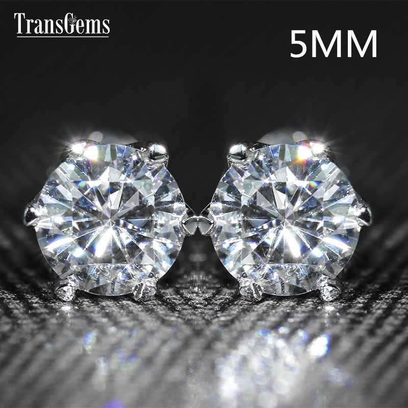 Transgems 14K 585 White Gold 5mm 0.5ct VVS1-2 Clear Moissanite Stud Earrings Screw Back for Women Wedding Gift блуза jennyfer jennyfer je008ewumi29