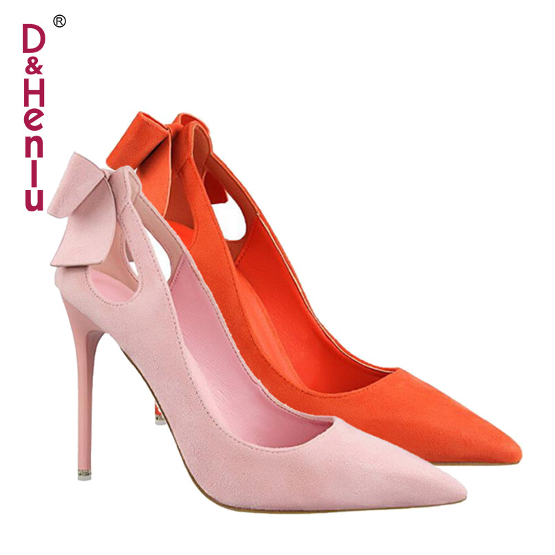 {D&Henlu} Brand Shoes Bow Woman High Heels Women Pumps Hollow Stiletto Thin Heel Pointed Toe High Heels Wedding Shoes Woman sgesvier 2017 spring summer women pumps sweet high heeled shoes thin high heel shoes hollow pointed stiletto elegant tr007