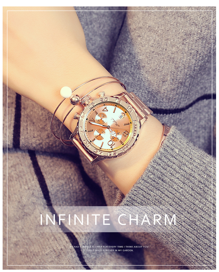 2019 Fashion Big Dial Women Watches Super Beauty Lady Six-pin Casual Wristwatches New Crystal Dress Watch Female Rose Gold Watch
