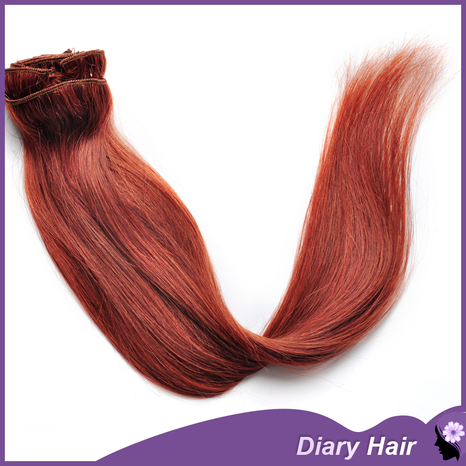 Dhl Free Brazilian Silky Straight Clip In Hair Extensions 33 Bright
