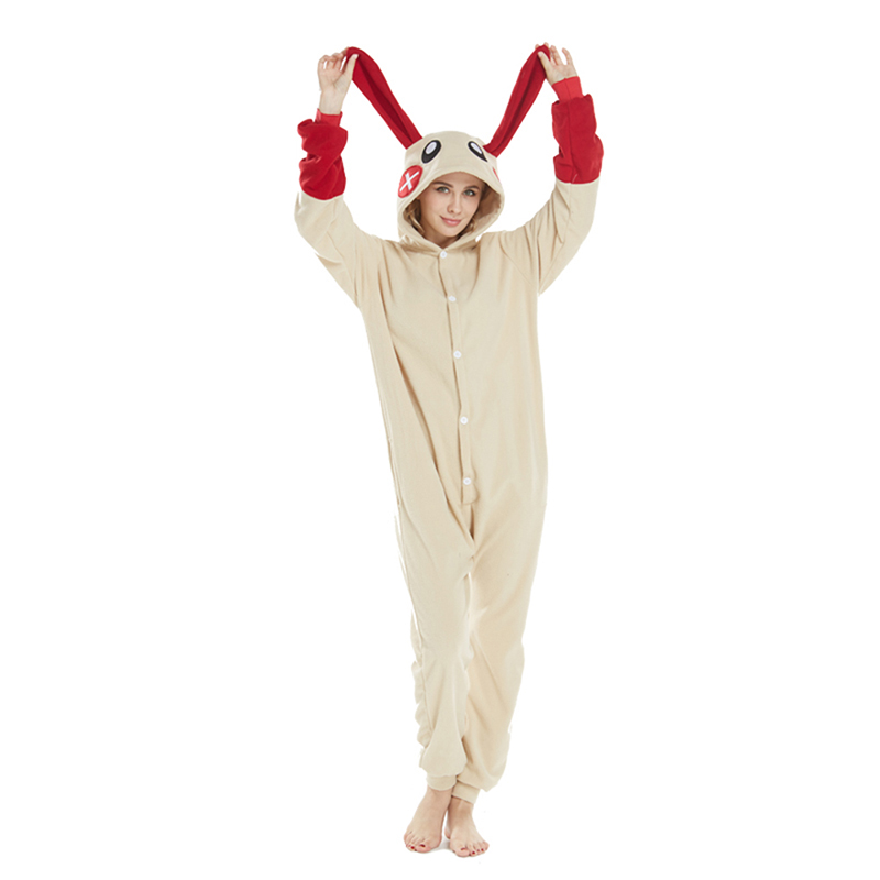 2018 New Arrival Animal Onesie Adult Unisex Red Rabbit Animal Pajamas Cartoon Sleepwear Men Women Winter Jumpsuits