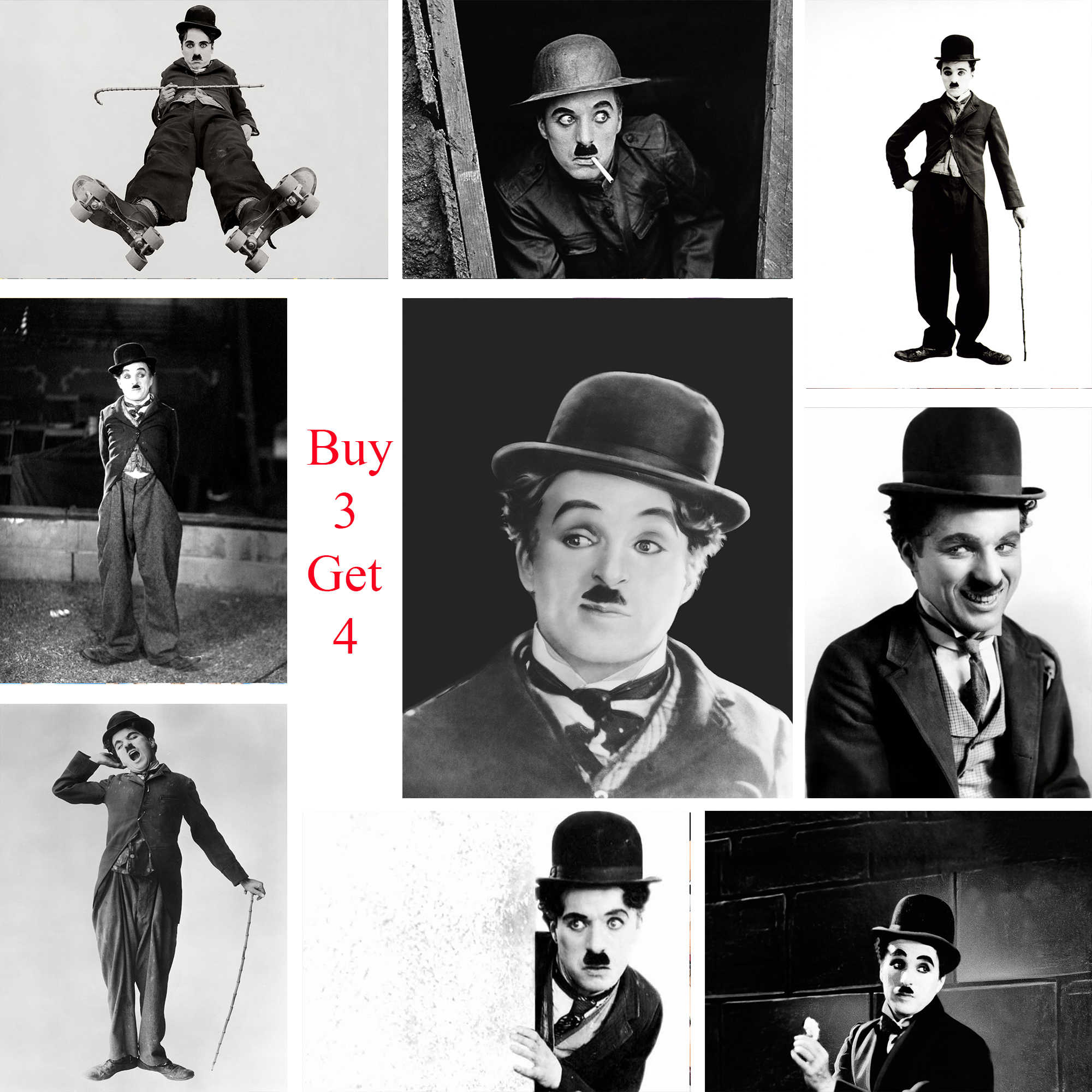 Charlie Chaplin Posters Movie White Coated Paper Prints High Definition Clear Image Home Decoration Livingroom Bedroom Bar