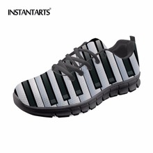 INSTANTARTER Klaver Keyboard Sneakers Voksne Outdoor Sports Shoes Kvinder Mænd Light Mesh Running Shoes Pustende Music Notes Prints