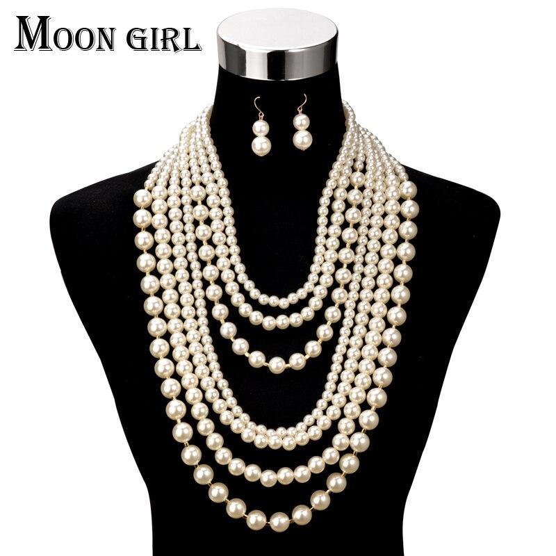 Multi-layer Alloy Beads Moon Pendant Choker Necklace Fashion Girls