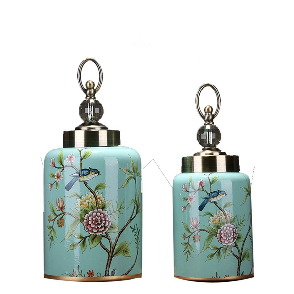 Style européen américain pays jardin carré poterie pot doux artisanat maison salon antique en céramique ornements LU615243
