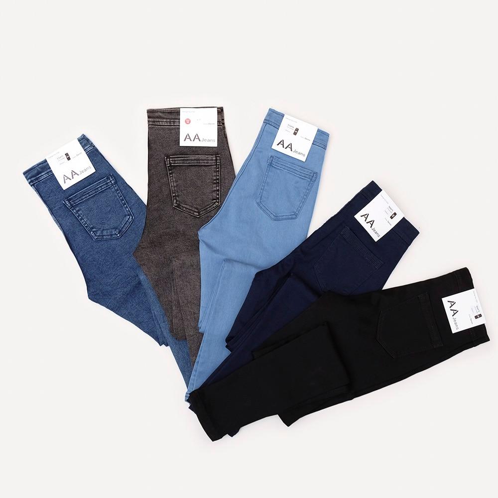 Jeans Wanita Denim Pensil Seluar Vintage Jeans Tinggi pinggang Wanita Kasual Stretch Jeans kurus Femme Black Blue