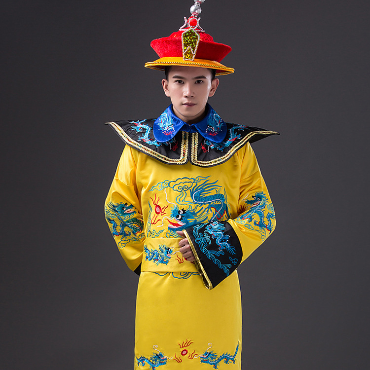 Yellow New Chinese Traditional Clothes Hot Sales Han Clothing Emperor Prince Show Cosplay Suit Robe with Hat Costume One Size black and coffee 2 colors hair tiara ancient chinese emperor or prince costume hair crown piece cosplay use for kids little boy