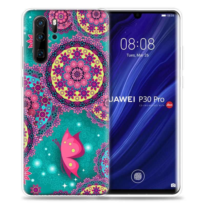 Mariposa flor Mandala caso de Huawei P20 P30 P Smart Z Plus Nova 5 5i P10 P9 Mate 10 20 lite Pro de silicona teléfono Capa