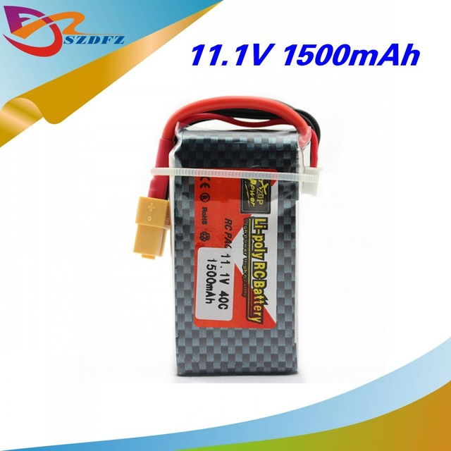 1pcs   11.1V 1500Mah 3S 40C ZOP Li-Po Battery XT60 Plug For RC Quadcopter Drone Helicopter Car Airplane Toy Parts