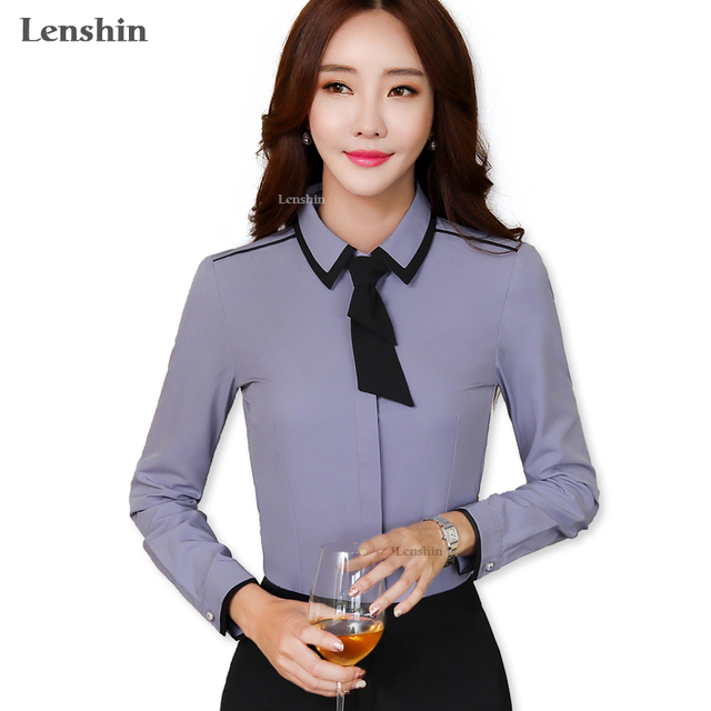 e363bff8 Lenshin Gray Tie Shirt Women Tops Cover Button Long Sleeve Bow Contrast  Collar Blouse Office Lady