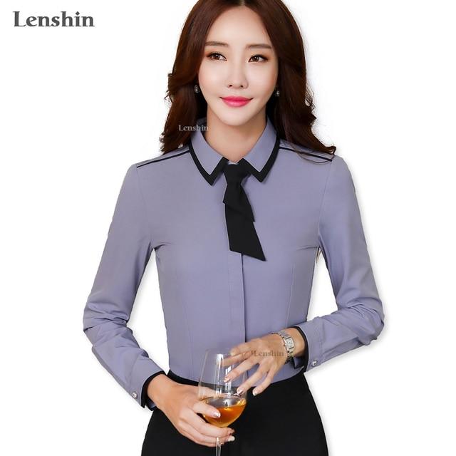 e363bff8 Lenshin Gray Tie Shirt Women Tops Cover Button Long Sleeve Bow Contrast  Collar Blouse Office Lady