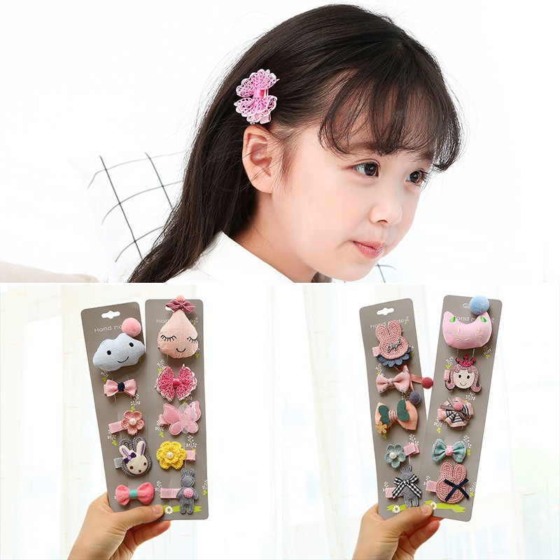 5pcs/set Flowers Bowknot Hairpins Children Cartoon Hair Clips Kids Girls Sweet Barrettes Baby Accessories   Headwear
