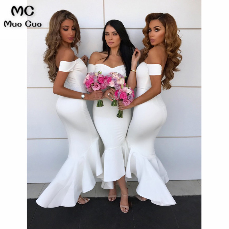2018 Off Shoulder Mermaid   Bridesmaid     Dress   Short Sleeve White Wedding Party   Dress   Elastic Satin Women   Bridesmaid     Dresses