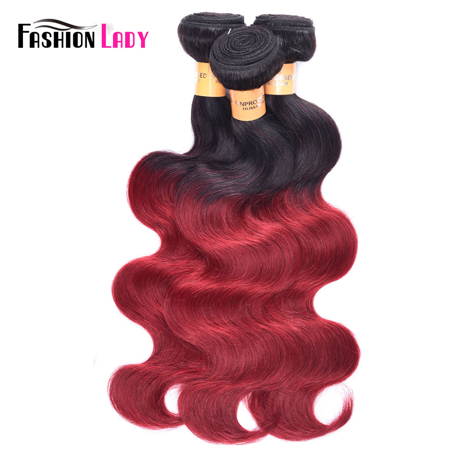 Fashion Lady Pre-Colored Peruvian Hair Body Wave Bundles 100% Human Hair 4 Bundles 1B/Burgundy Ombre Human Hair Bundles Non-Remy