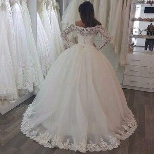 Image 4 - Vestido de noiva 볼 가운 공주 웨딩 드레스 긴 소매와 페르시 숄더 신부 가운 로브 드 mariage