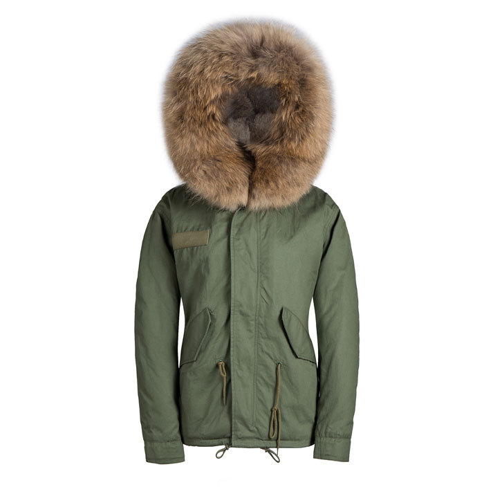 Winter warm fur hooded parka short style big brown lined collar ...
