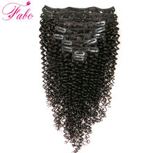 Fabc Hair Kinky Curly hair Clip Ins Human Hair Extensions 10pcs/set 4B 4CMongolian Clip In Non-Remy human Hair 120g/set(China)