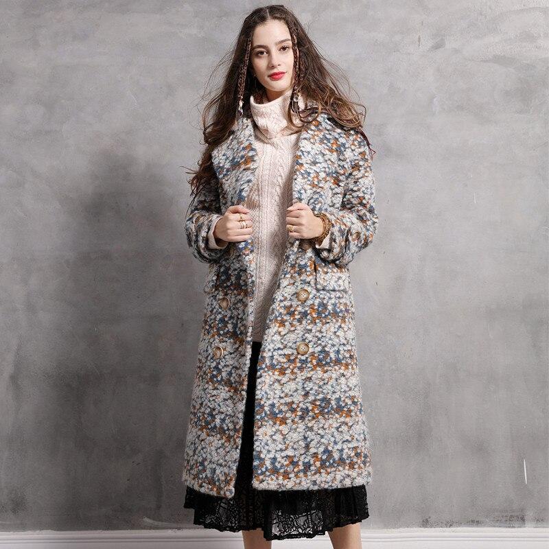 Style Ethnique Hiver Casaco Feminino Vintage Double X Haute Casacos Nouvelle Manteaux Qualité Laine Femmes Breasted 2018 Épaississent Manteau longues xwqIfp