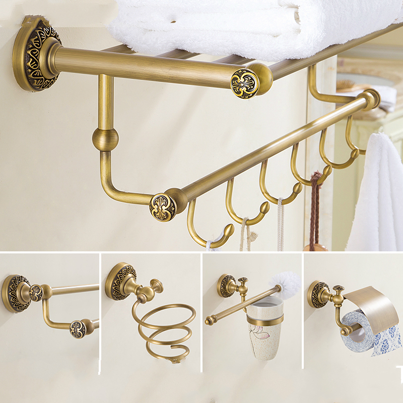 European Solid Brass Carved Bathroom Hardware Sets Antique Brushed Bronze Bathroom Products