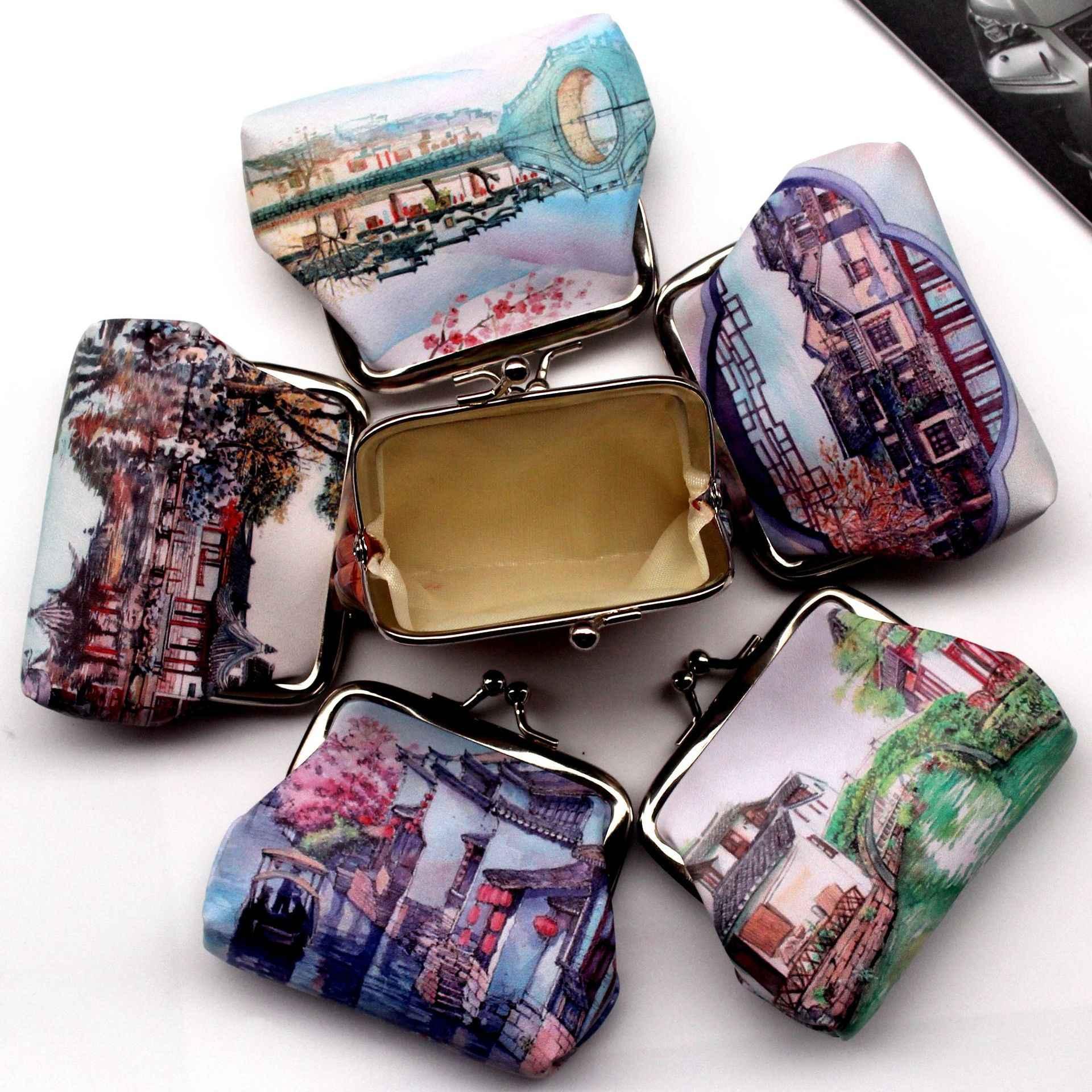 Винтаж милые Для женщин печати древний город hasp кошелек для монет дамы кошелек женский клатч мини-мешок денег искусственная кожа Carteira 5