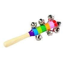 Красочный Деревянный колокольчик 10 перкуссионных струн колокольчики, звон Orff инструменты детские погремушки безопасный свисток-язычок для детского звука