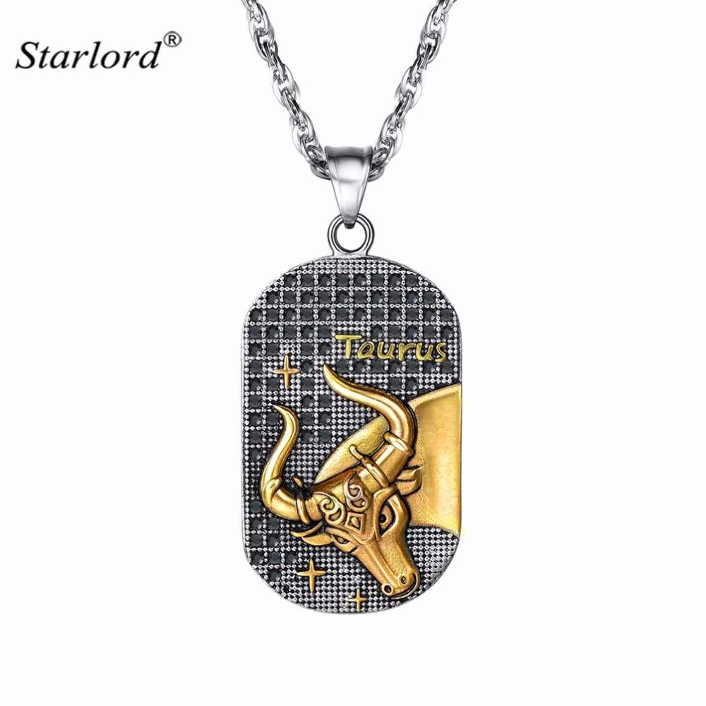Taurus Pendant Necklace Stainless Steel Constellation Gift Patron Saint Marc Necklace Cameo Dog Tag Zodiac Sign For Men P2922