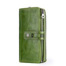 Wholesale Wallet Genuine Leather Femal Clutch Credit Crad Holder Large Capacity Card Organizer Cell Phone Pocket