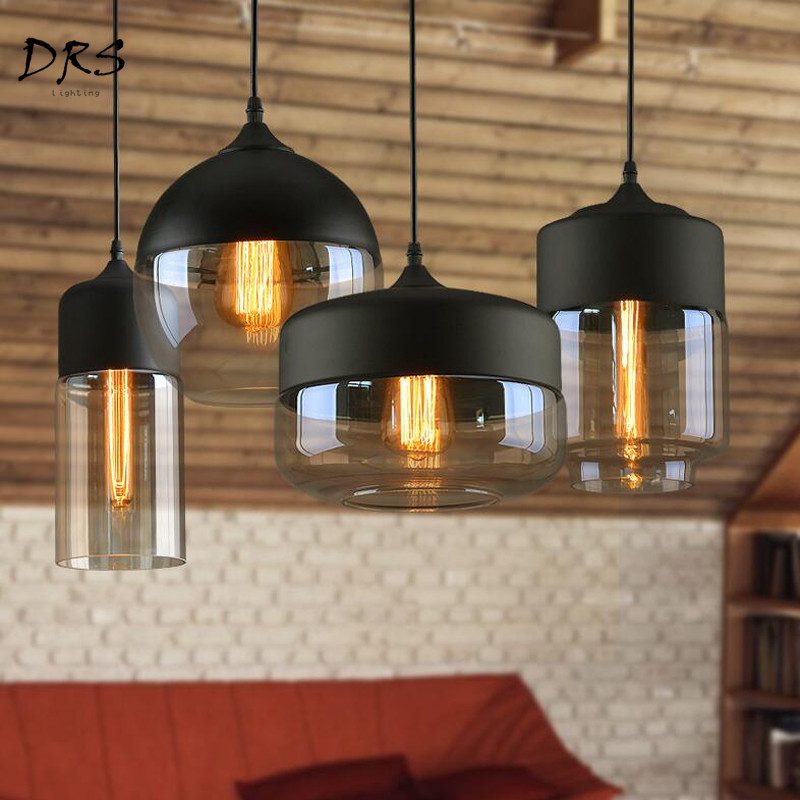 Nordic Modern Loft Hanging Glass Pendant Lamp E27 LED Pendant Lights for Kitchen Living Room Luminaire Industriel Light Fixtures