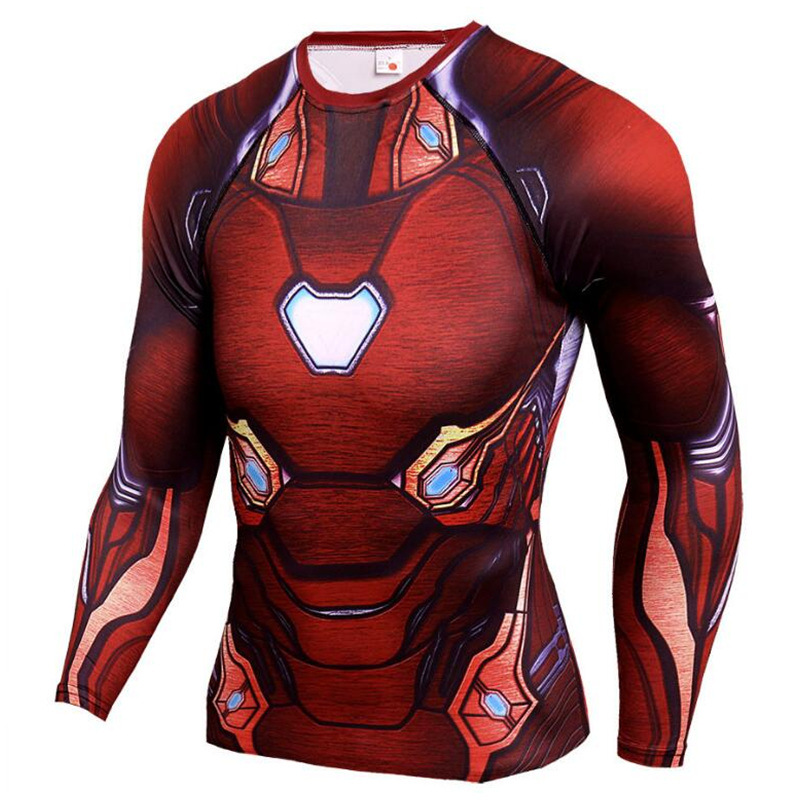 Iron Man Superman 3D Printed Tshirt Men Compression Shirts Long Sleeve Tops Tees Gyms Fitness Workout T-shirt Rashguard