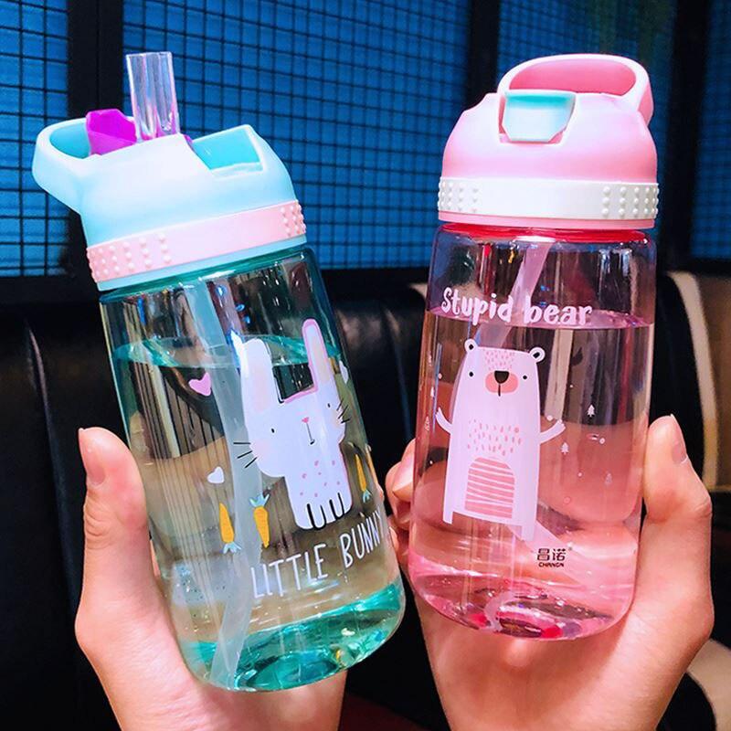 450ml Kids Water Bottle With Straw BPA Free Children Water Drinking Kettle Healthy Plastic Portable Sports Bottle 1