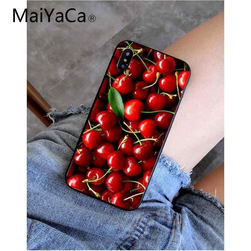 Funda de teléfono MaiYaCa fruta deliciosa cerezas de alta calidad para el iPhone 8 De Apple 7 6 6S Plus X XS MAX 5 5S SE XR