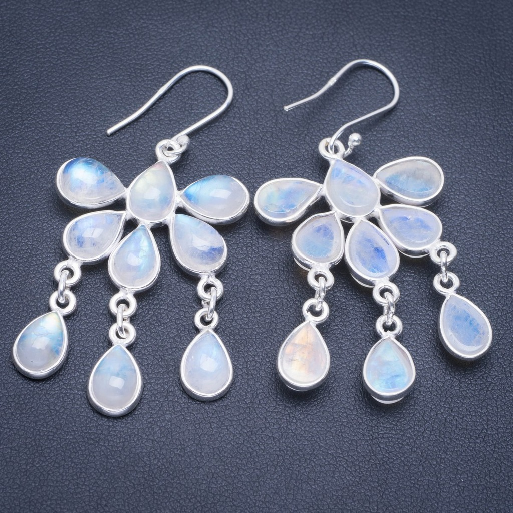 Natural Rainbow Moonstone Handmade Unique 925 Sterling Silver Earrings 2.25 A2075Natural Rainbow Moonstone Handmade Unique 925 Sterling Silver Earrings 2.25 A2075