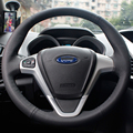 Steering Wheel Leather Cover Case for Ford FIESTA EcoSport Genuine Leather DIY Car-styling Black Leather