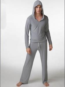 Shirt Sleepwear Pyjamas Silky Ropa Gay No Camiseta Hooded Nocna Bielizna Hombre Men's