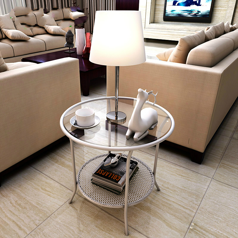 Modern Minimalist Corner Iron Tea Table Room Phone Several Sofa Side Table Tempered Glass Small Round Table toughened glass phone corner sofa a few little sitting room tea table
