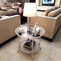 Modern Minimalist Corner Iron Tea Table Room Phone Several Sofa Side Table Tempered Glass Small Round